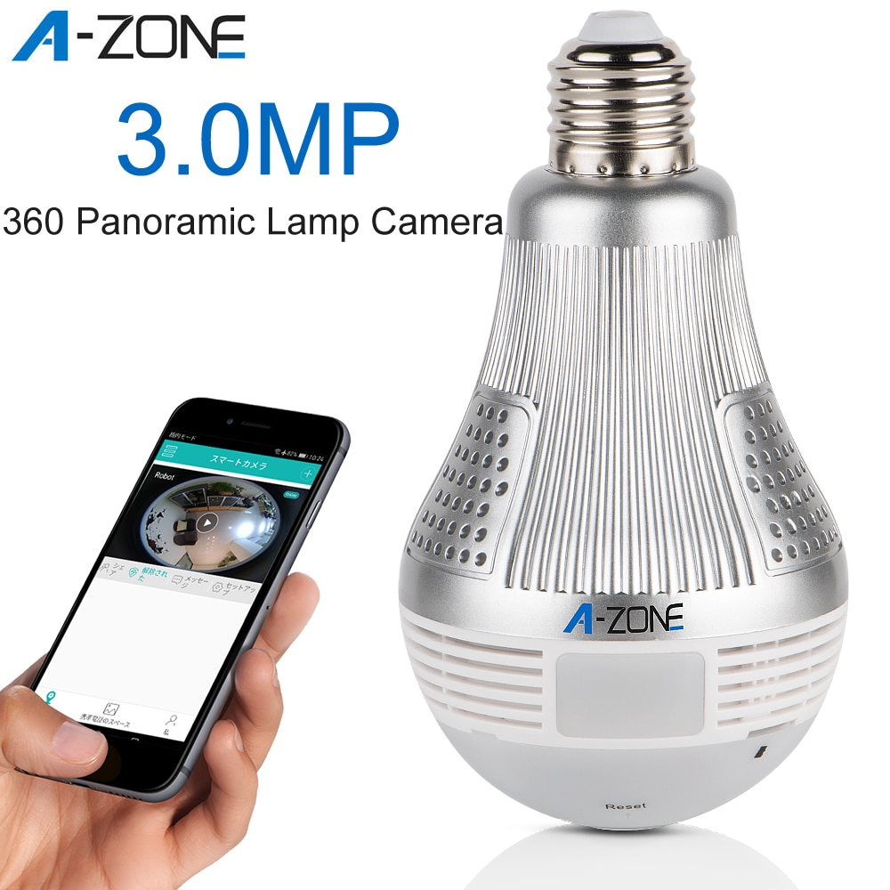 A-ZONE 3.0MP HD 360 Panoramic Lamp Wifi LED Light Bulb Camera Night Vision 1536P Home CCTV Wireless IP Surveillance Camera
