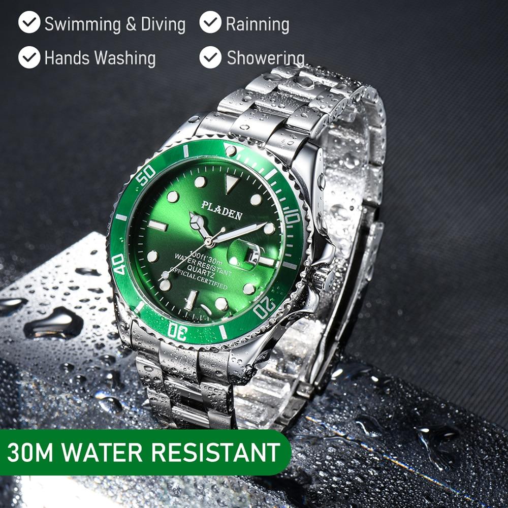 بلادن ساعة رجالية فاخرة العلامة التجارية الخضراء كوارتز ساعة اليد توقيت الفولاذ المقاوم للصدأ رونت موضة الأعمال ساعة الغوص Reloj Hombre