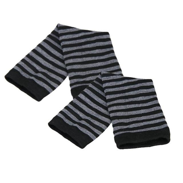 Outdoor Warm Mittens Fingerless Gloves Winter Gloves Arm Warmers Women 35cm Strip Print Knitted Long