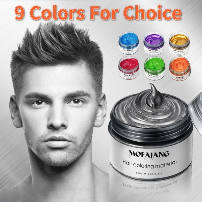 Mofajang Temporary Hair Color Dye Wax Cream Grey Gray Hair Styling Grandma One Time Disposable Silver Hair Gel Coloring Mud Wax hair colour cream pomades modeling pomade hairstyle waxes ash wax hair color wax mud disposable modeling dye cream washable