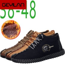 Keep Warm Winter Men Shoes High Quality Moccasin Split Leather Casual Men Shoes with Plush Handmade