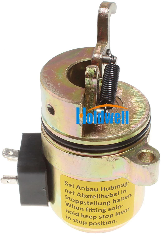 Holdwell solenoide de cierre de combustible 04170534R para Deutz BF4M1011F Minicargadora Bobcat 12Vdc