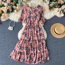 SINGRAIN Women Chiffon Floral Dress Summer V Neck Flare Sleeve Ruffles Midi Long Dress Holiday Korean Beach Print A Line Dress
