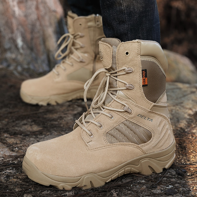 Men's Work Shoes Genuine Leather Waterproof Lace Up Tactical Boots Fashion Motorcycle Boots Men Combat Ankle Military Army Boots designer men winter military boots male snow fur combat ankle boots waterproof army rain shoes chaussure homme