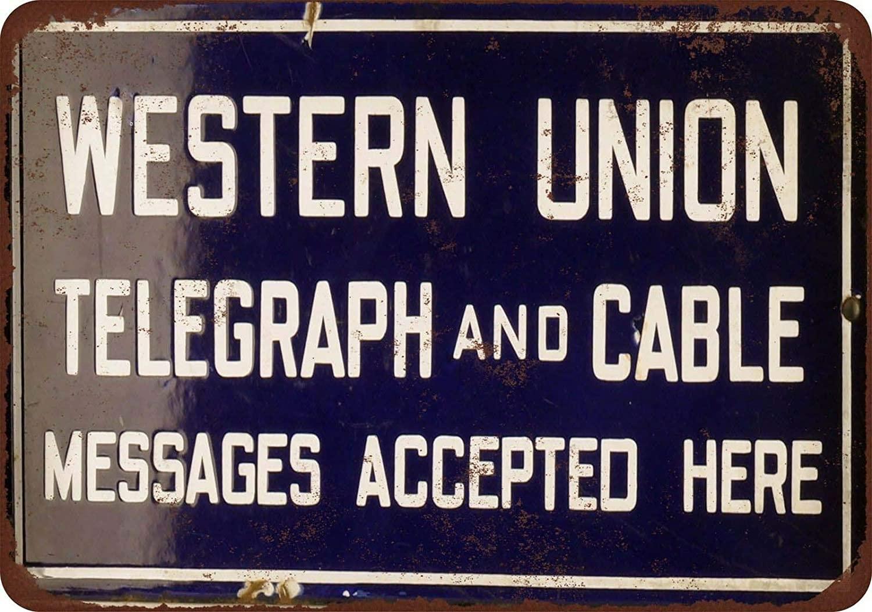 Granja de Metal signos Vintage sótano Western Union Telegraph Cable y de...