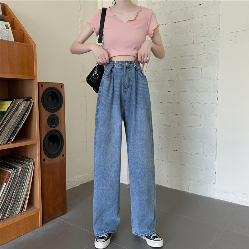 Spring Autumn Korean Style Large Size Wide Leg Jeans for Plump Girls Loose Slimming and Straight Dra