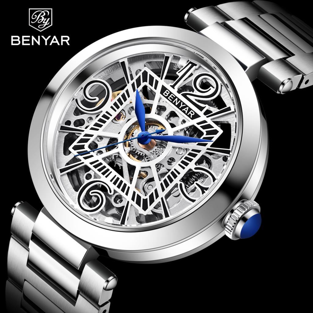 2021 BENYAR New Automatic Mechanical Wristwatch Luxury Stainless Steel Strap Military Waterproof Clock Relogio Masculino relogio