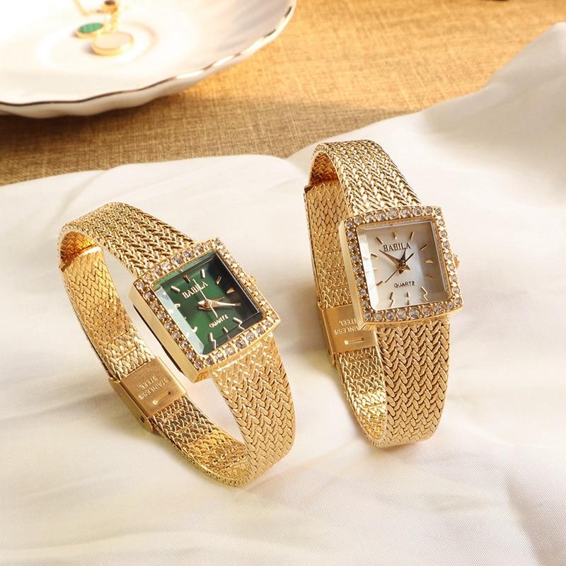 Ladies Watch Luxury Niche Chic Wind Square Suit Diamond Vintage Wheat Ear Quartz Watch Girlfriend Gift  Ladies Watches enlarge