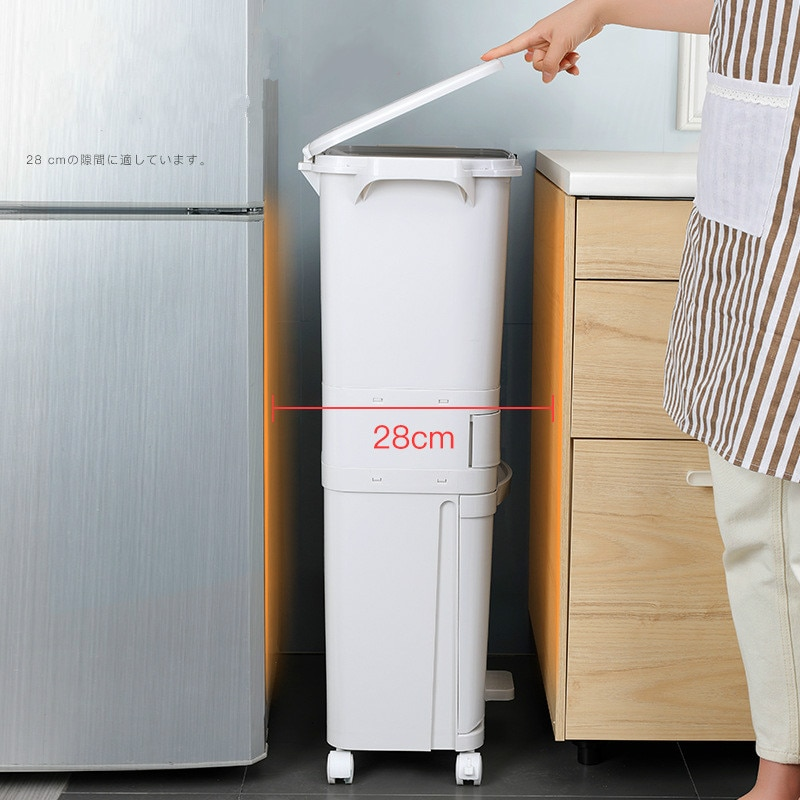 New 42L Kitchen Gargabe Can Wet Dry Trash Sorting Bin 3 Layers Recyclable Vertical Trash Cabinet Household Waste Bin With Wheels enlarge