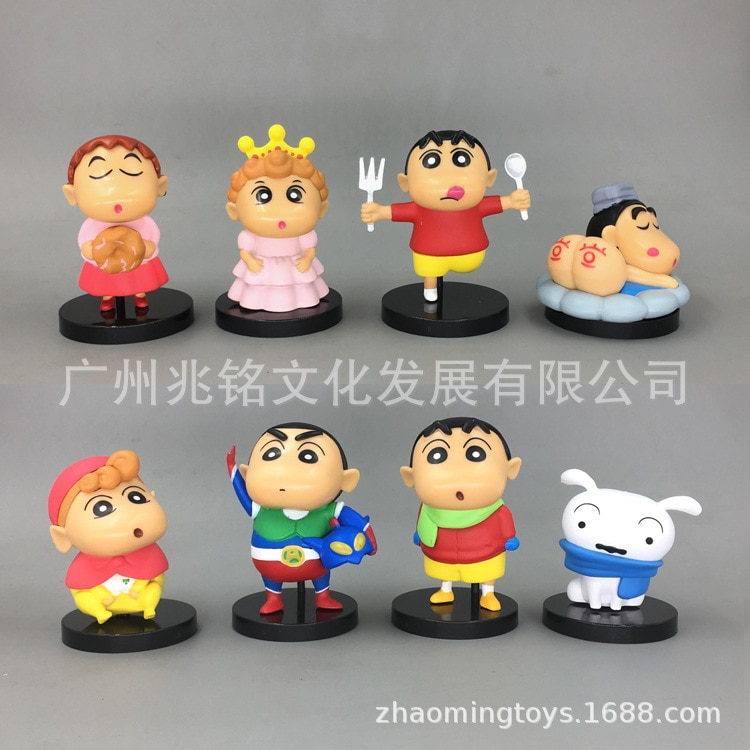 4 unids/set 6cm PVC Crayon Shin-chan figura de juguete lindo Crayon Shin Chan figuras de acción en miniatura dibujos animados Anime juguetes de regalo para niños