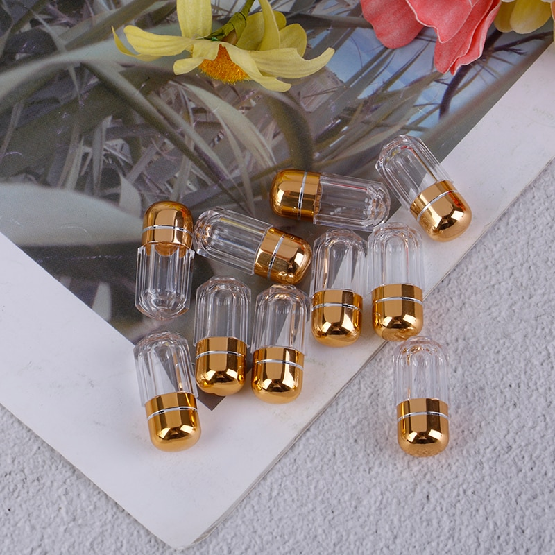 Cápsulas portáteis de gel vazias, capas transparentes de gel à prova dágua, mini caixa de plástico, suporte para garrafa, peças capa de pílulas