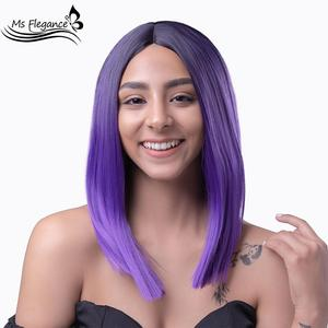 MS FLEGANCE Purple Straight Cosplay Wigs Synthetic For Black Women Short bob Lolita Fake Hair Pink Daily Party Synthetic Wigs