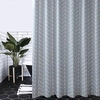 Style moderne salle de bain rideau bleu Plaid rideaux de douche etanche Peva cloison rideau baignoire moisissure ecrans de bain avec crochet