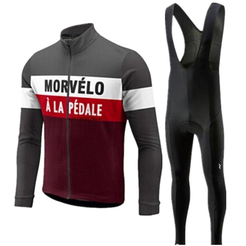 Morvelo otoño manga larga hombres 2020 ciclismo Jersey pantalones conjunto ciclismo ropa camiseta de bicicleta de carretera ropa Bib pantalones trajes
