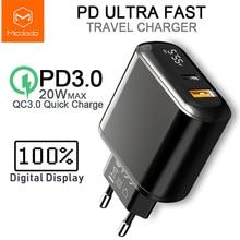 Зарядное устройство Mcdodo с USB, 20 Вт, Quick Charge 3,0 PD, быстрая зарядка для телефона iPhone 11 Pro Max X XR XS Xiaomi Samsung S10 9 Huawei