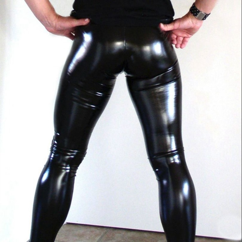 Novedad de verano para hombre, pantalones finos de cuero PU de cintura alta, Leggings negros brillantes para hombre, pantalones elásticos, tallas grandes S M L XL XXL