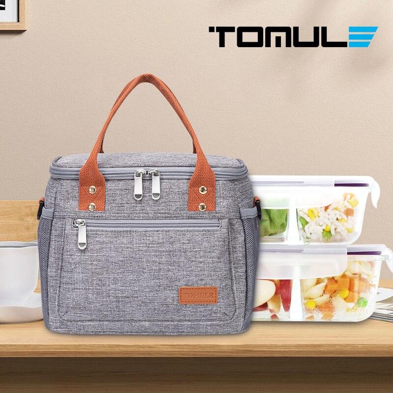 Bolsa de Almoço Térmico para as Crianças dos Homens Bolsas de Piquenique Portáteis à Prova Tomule Moda Bolsas Dwaterproof Água Pacote Isolado Cinza