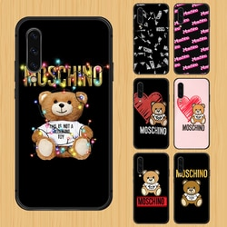 Moschino marca de luxo bonito urso caso do telefone capa para samsung galaxy a10 a20 a30 e a40 a50 a51 a70 a71 j 5 6 7 8 s preto funda