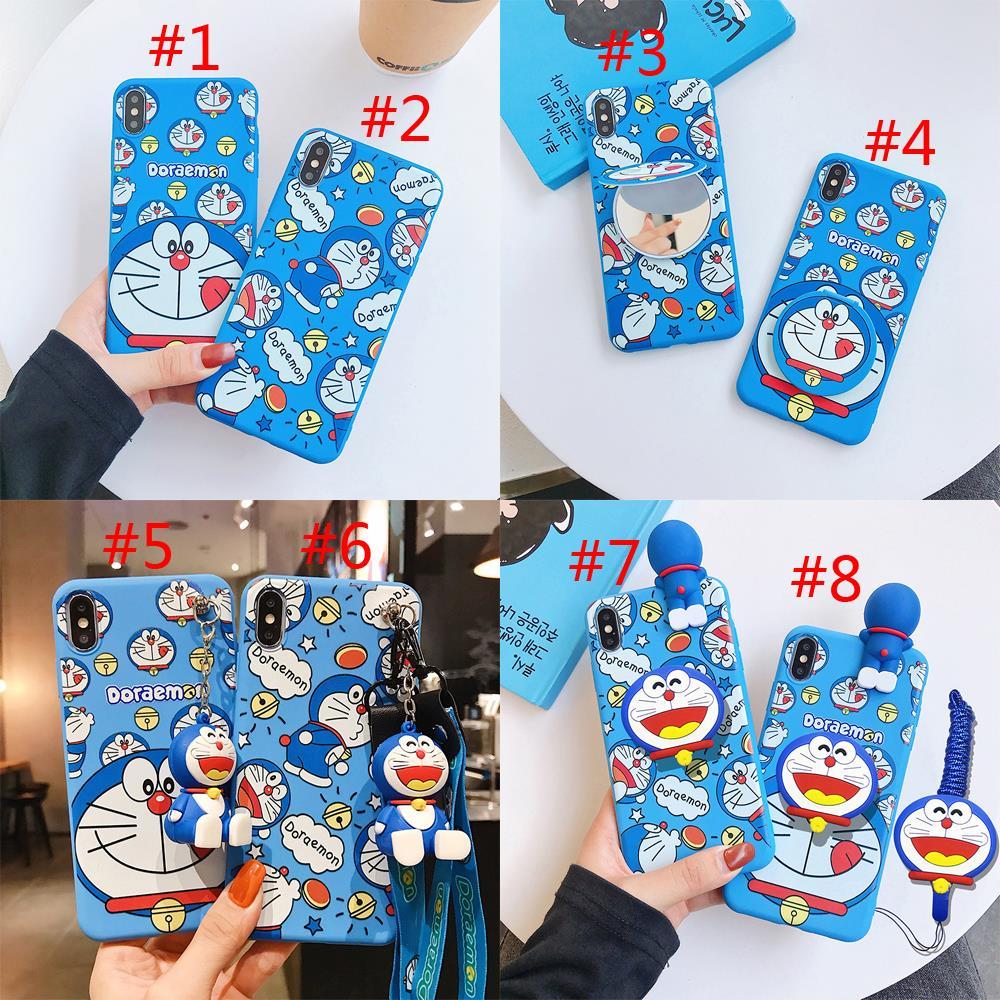 Doraemon Toy Case for Huawei P20 P30 P40 Pro Nova 2 lite Y6 Y7 Y9 Prime 2018/2019 Soft Case For Honor 8X Cover Bracket Lanyard