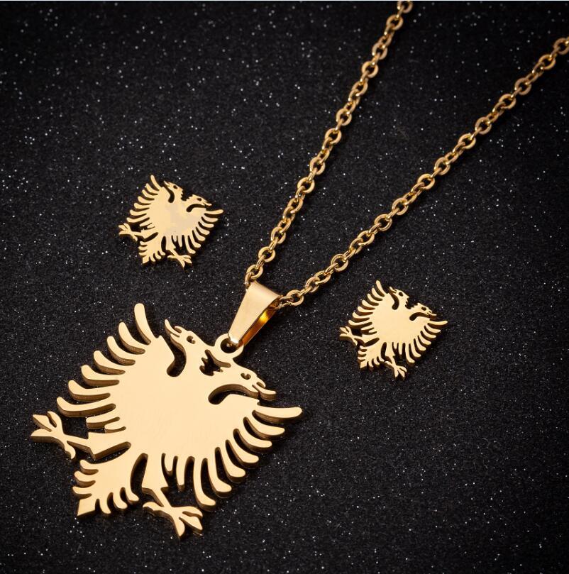Hfarich состояние Для мужчин t Орел Сталь ожерелья деликатная модная албанский флаг с двухголовой птица подвеска чокер для Для мужчин Для женщин колье