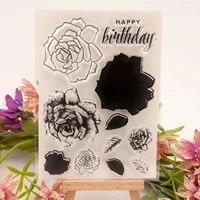 metal cutting dies clear stamp of happy birthday rose leaf scrapbooking paper embossing stencil paint ink seal