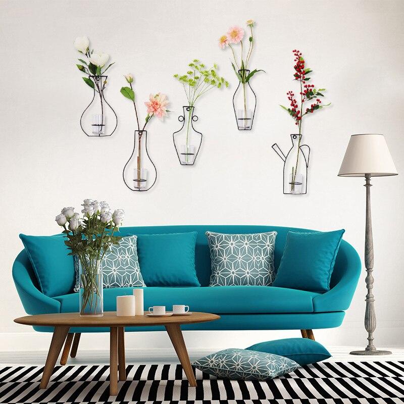 Кованого железа прозрачное стекло вазы DIY абстрактный черные линии минималистский абстрактный цветок стеллажи для вазы дома стене висит ук...