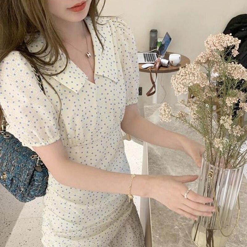 2021 Summer Casual Mini Dress Korean Female Evening Party Kawaii Elegant One Piece Dresses Women Short Sleeve V-Neck Dot Dress
