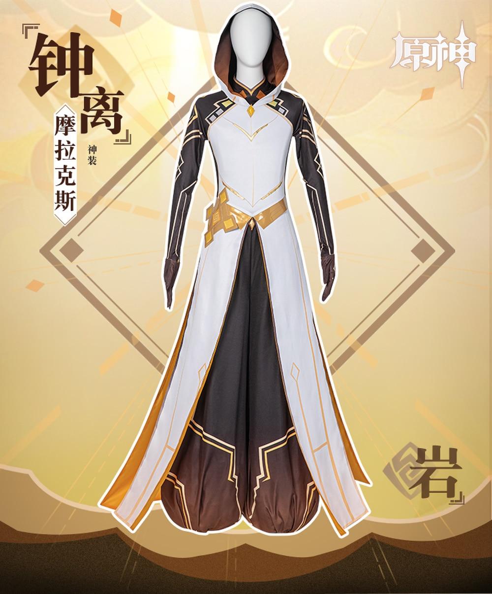 Traje para Halloween Festa de Natal Anime Genshin Impacto Zhongli Deus Traje Morax Masquerade Mostra