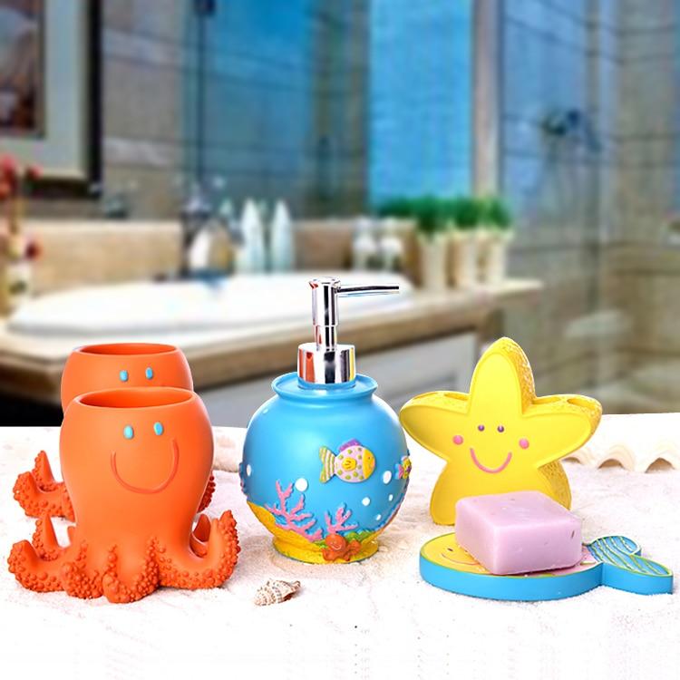 5PCS Bathroom Set Decoration Bathroom Accessories Set  Children Cartoon Wash European Creative Household Supplies Wedding Kit enlarge