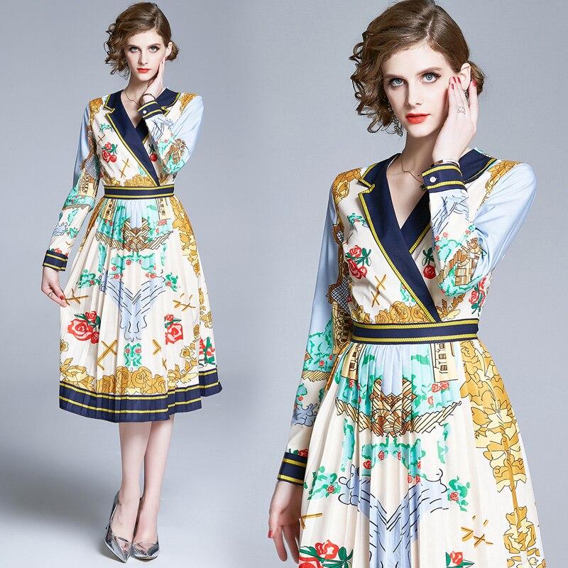 2020 Autumn Fashion Runway Long Sleeve Notched Collar Vintage Dress Women's Multicolor Floral Print Elegant Midi Pleated Dress