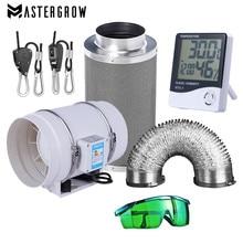Ventiladores centrífugos de 220V y juego de filtros de aire de carbón activado de 4/5/6 pulgadas para invernaderos de tienda de cultivo hidropónico de luz Led para interior