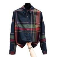 2021 new fashion plaid blouse top bottoming shirt shirts long sleeve blouse women shirts