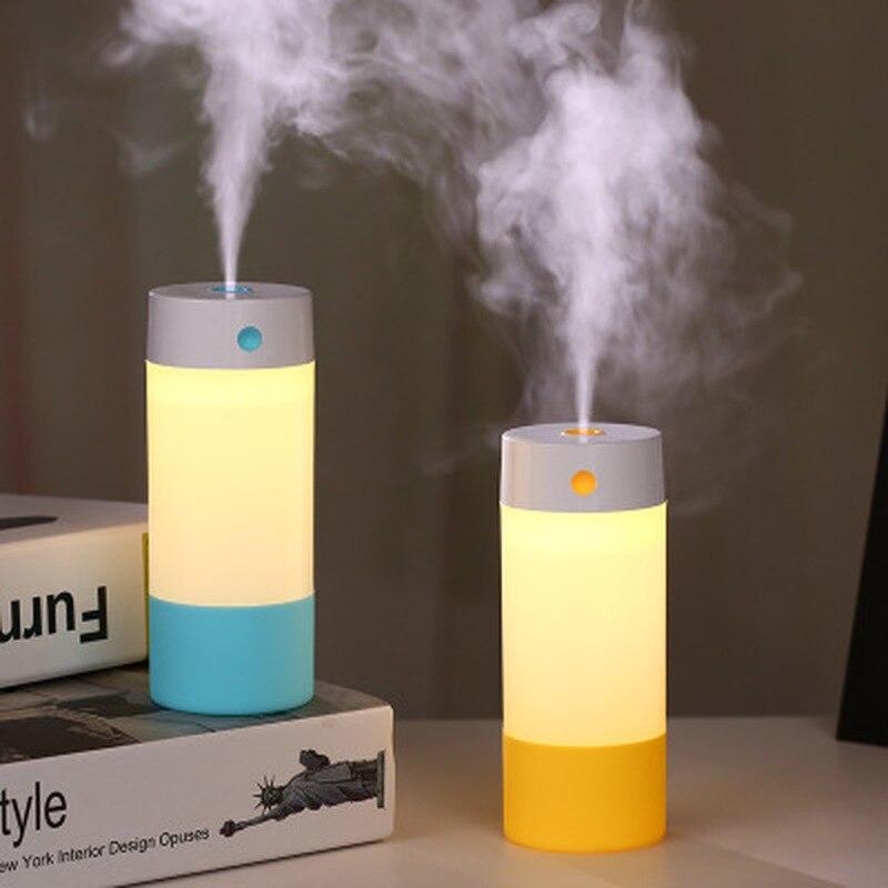 Mini humidificador creativo, purificación de aire, luz nocturna adecuada para oficina, coche, dormitorio, cabecera, iluminación de ambiente con USB