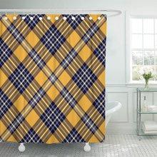 Tartan xadrez padrão xadrez design xadrez violeta pálido amarelo azul escuro listras em vívido laranja cortina de chuveiro poliéster impermeável