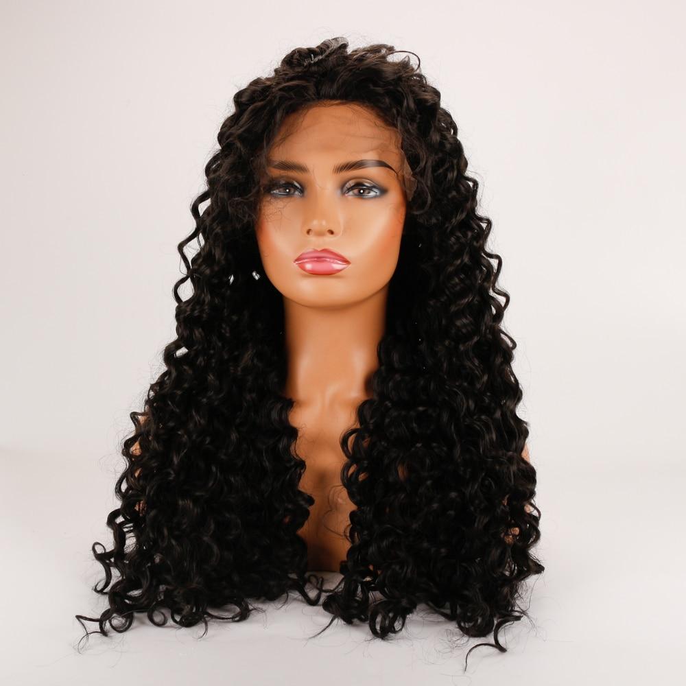 DLMEAfro кудрявый парик синтетические Синтетические волосы на кружеве парик для черных Для женщин синтетический термостойкий парик волос пари...