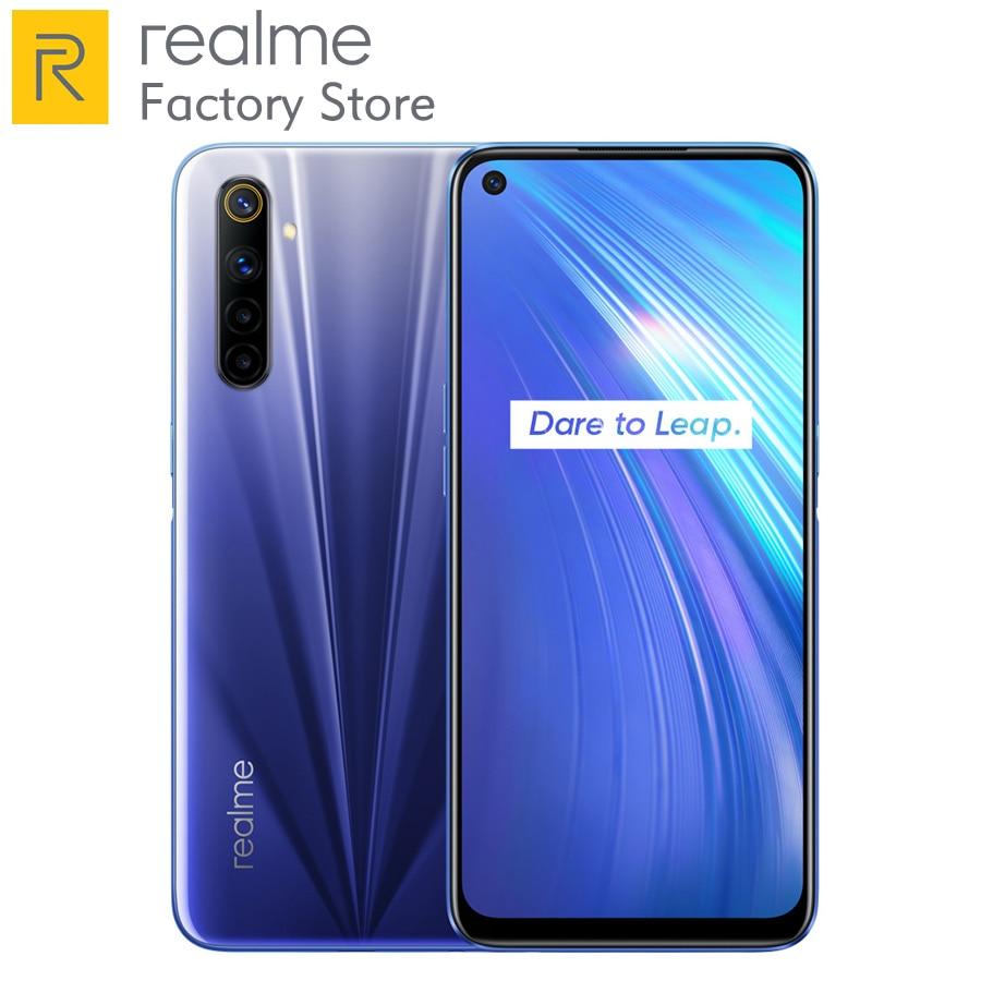 Global Version realme 6 Mobile Phone 8GB RAM 128GB ROM 30W Flash Charge 64MP Camera 4300mAh Cellphone 90Hz Display Helio G90T
