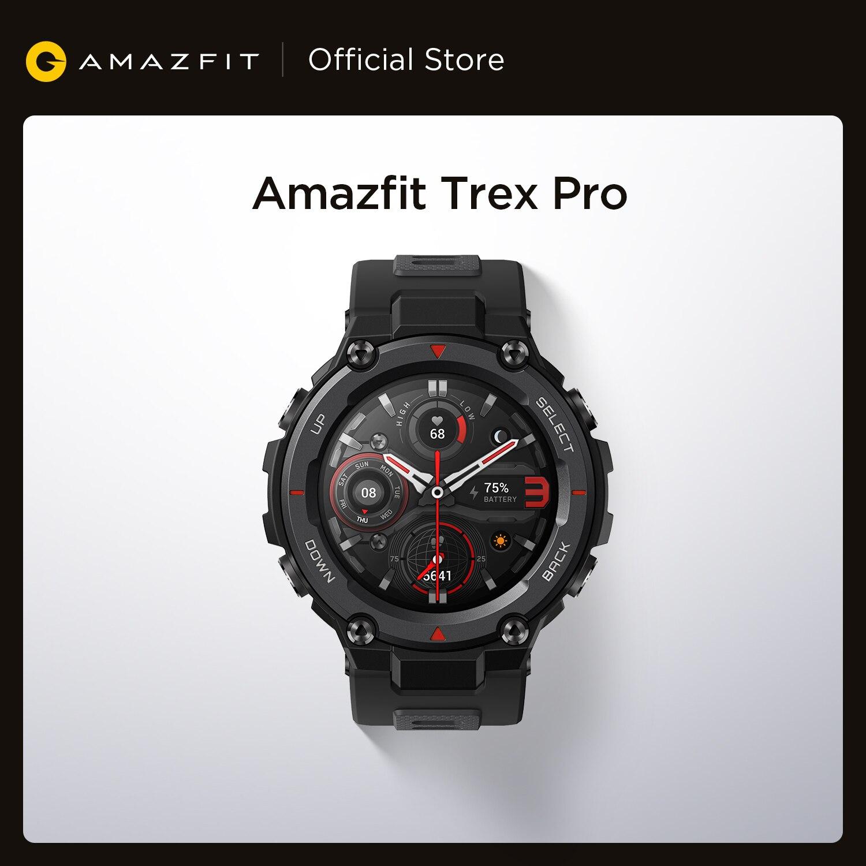 Amazfit-ساعة متصلة Trex Pro ، لهواتف Android و iOS ، إصدار عالمي ، GPS ، بطارية تدوم 18 يومًا ، مقاومة للماء ، 390 مللي أمبير