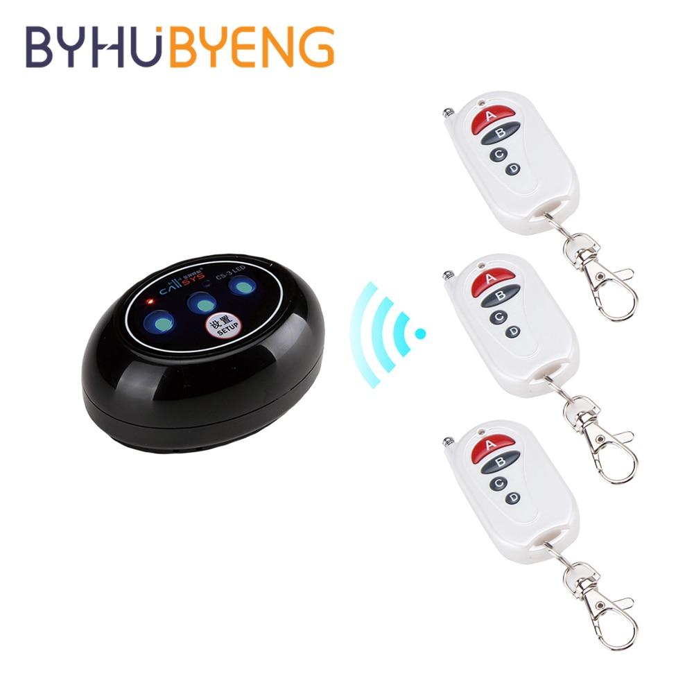 BYHUBYENG Wireless Office 3 Call 1 Buttons Receiver Bell Home Alarm System Nursing Buzzer Hookah for Smoking Table Pager