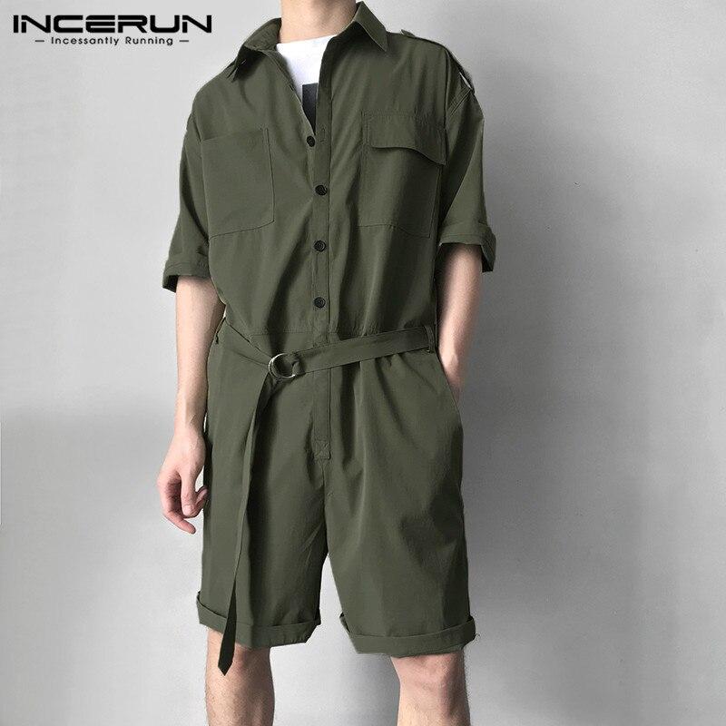 Incerun moda masculina carga macacão com cinto meia manga streetwear sólido casual calças playsuit homens macacão harajuku