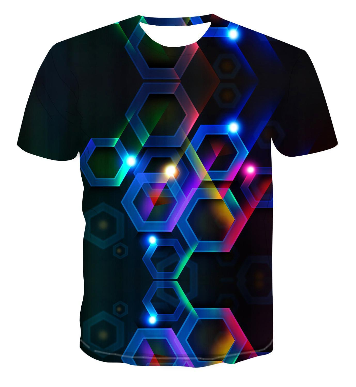 3d New Simple Fashion Color Geometry Stack Psychedelic Creative Design T -Shirt For Men 'S Versatile