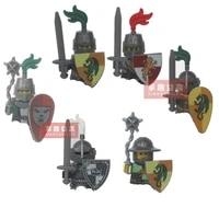 1pcs4 5cm dragon knight medieval frightening warrior helmet shield weapon armor accessories figures building blocks kids toys