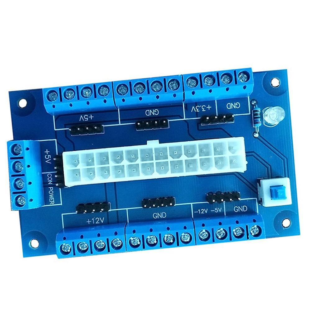 Accesorios de escritorio ligero 24/20-pin Botón de enganche de ordenador superior Banco ATX Placa de adaptación Módulo adaptador fuente de alimentación de ordenador