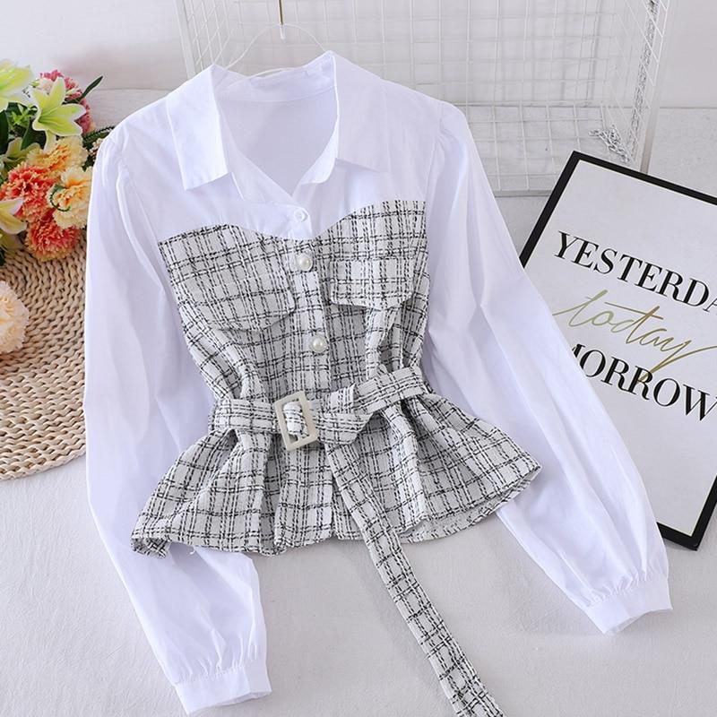 Women New Plaid Shirt Female Autumn Korean Loose Long-sleeved Stitching Fake Two-piece Blouse Turn-Down Collar Top Female GX1145