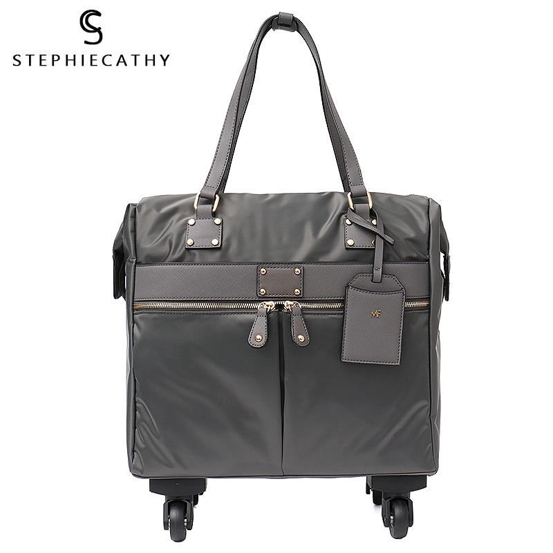 SC ستوكات بولي Leather جلد النساء المتداول الأمتعة سبينر عجلات كبيرة عادية للجنسين حقائب السفر وظيفية عطلة حمل على حقيبة