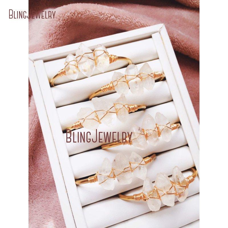 Rustic Bridal Jewelry Wire Wrap Crystal Quartzs Raw Crystal Jewelry Clear Quartz Cuff Bracelet Bracelet BM27710