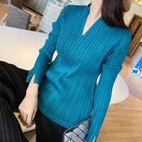 sanzhai pleated v neck top stretch large womens wear show thin and fat mm2021 spring and summer long sleeve t shirt new