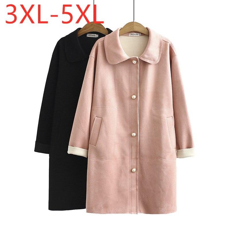 معطف طويل للنساء, معطف طويل للخريف والشتاء للنساء مقاس كبير فضفاض طويل الأكمام وردي اللون مع جيب من جلد الغزال معطف واق من المطر 3XL 4XL 5XL