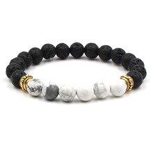 Difusor de Perfume de aceite esencial 8mm Chakra negro Lava piedra cuentas pulsera Ojo de Tigre cuentas pulsera de joyería de yoga
