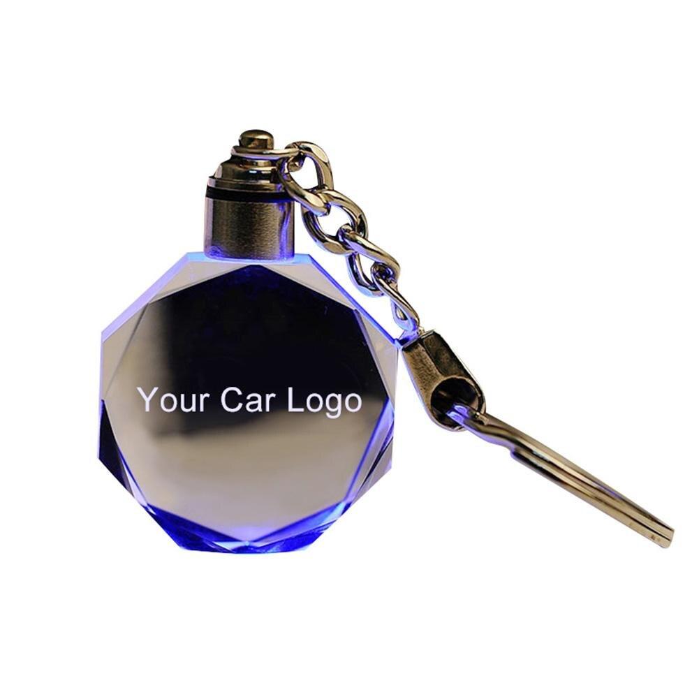 New 35 Models Luminous Key Chain Logo LED Cut Glass Car Logo Key Ring Holder Audi VW Benz Ford BMW Car Interior Accessories Hot