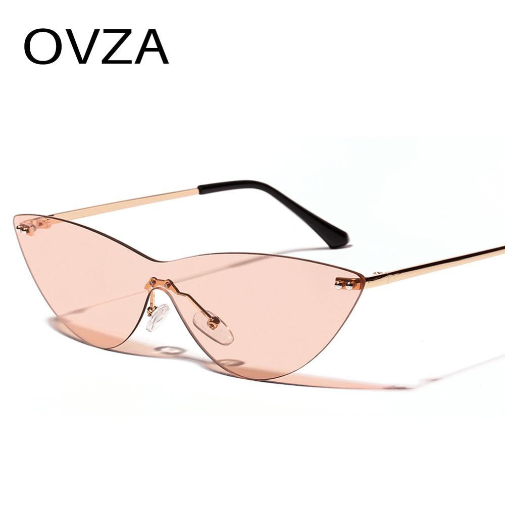 OVZA gafas de sol sin montura para mujer gafas angostas de diseño de marca Retro lentes de sol ojo de gato S6031
